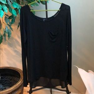 Black long sleeve top with chiffon back